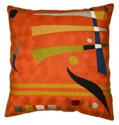 Kandinsky Abstract Orange. Fine handcrafted Kashmir crewel cushion based on the work of influential Russian modern painter, Wassily Kandinsky. The cushion is a perfect fusion of an Ottoman era handcraft with modern design. 100% wool chain-stitch envelops the cotton cover in luxurious sworls. Vivacious orange with rich accents of nature's own vibrant colors. Durable, hand washable or dry cleanable wool and cotton make this as practical as it is beautiful.