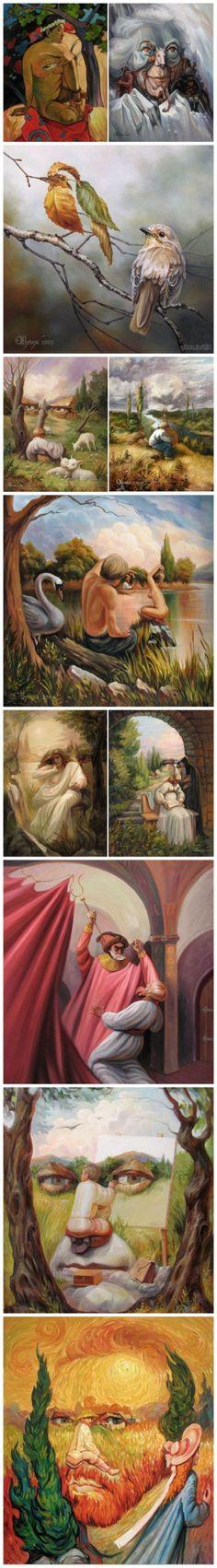 画中画、人中人。来自乌克兰艺术家Oleg Shuplyak的一组有趣的错视画作。