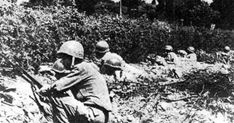 US infantry take cover behind a hedgerow in France.