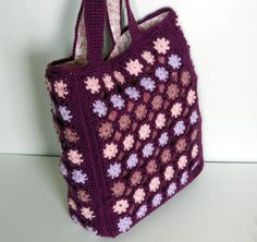 Crocheted Tote Bag in polka dots fully lined by CustomBearHugs, $100.00