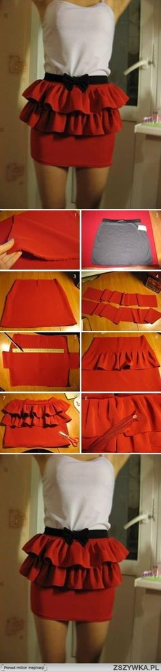 Super cute. Would be cute if you continued the ruffles all the way down as well. Or used alternating fabric and lace strips.