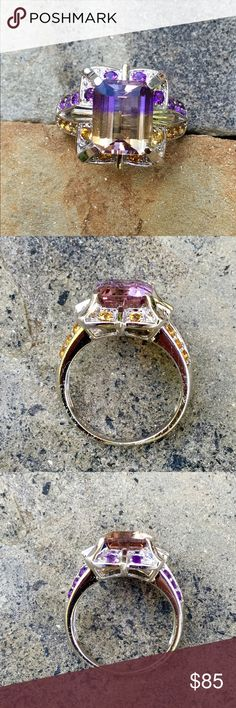 .925 Genuine Ametrine Citrine Cocktail Ring Stunning, Authentic Vintage Native American Museum pieces are AMAZING, But sometimes Girls just wanna have fun! Marked .925, SD, imported from Turkey, this beautiful series of rings is mostly Silver, Brass, and Lab created stones. ❗️EXCEPT THIS ONE!! ❗️GENUINE  9x11mm Emerald Cut Ametrine, with 1.5mm round accent stones of Amethyst & Citrine. ❗️Let's just say they are unique, unusual Art Deco styled Turkish Rings. SZ 8 Turkish Jewelry Rings