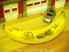 incredibly cool. Use a toothpick to draw on a banana. See what happens after 5 minutes. After an hour, it looks like this picture. Fun idea for lunch boxes.