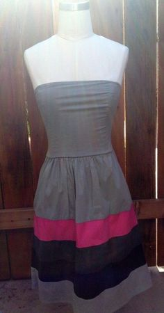 CUTE Urban Outfitters Strapless Gray Pink Black Stripe KIMCHI BLUE Sun Dress XS  #KimchiBlue #Sundress #Casual