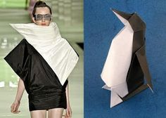 Origami is the traditional Japanese folk art of paper folding, hasadapted many fashion designers to produce fascinating art pieces. Andre Lima, Origami Penguin, Origami Dress, Origami Art, Origami Fashion, Look Alike, Color Inspiration, Fashion Inspiration, Wearable Art