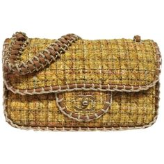 Pre-owned Chanel New Limited Edition Yellow Tweed Jumbo Metallic Flap... ($3,835) ❤ liked on Polyvore featuring bags, handbags, shoulder bags, light yellow, pre owned handbags, shoulder strap bag, shoulder strap handbags, brown purse and yellow shoulder bag