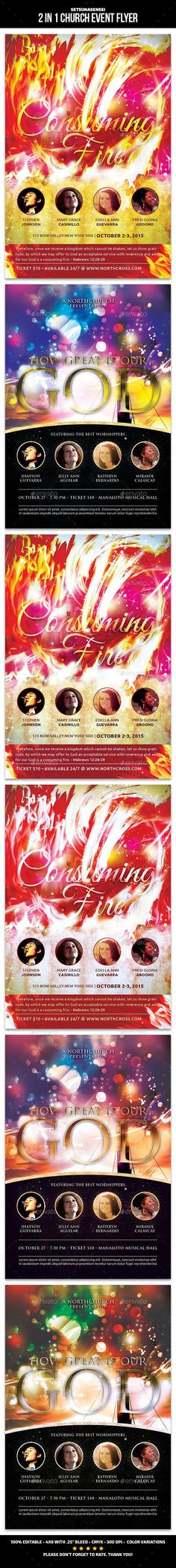 Buy 2 in 1 Church Event Flyer by SetsunaSensei on GraphicRiver. 2 in 1 Church Event Flyer This flyer is perfect for promoting your church's next concert event. Flyer Design Templates, Print Templates, Flyer Template, Creative Brochure, Creative Flyers, Letterhead Template, Brochure Template, Gospel Concert, Born Again Christian
