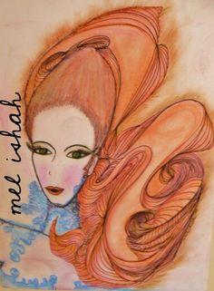 #red_hair #beauty #woman #men #girl #green_eyes #paint #art #tizapastel