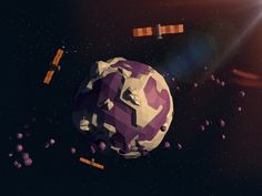 Low Poly Space by Igor Onkin, via Behance