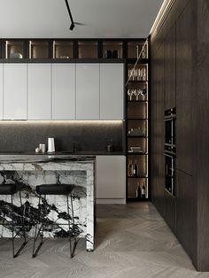 Luxury Kitchen Design, Kitchen Room Design, Home Room Design, Interior Design Kitchen, Modern Interior, Kitchen Decor, House Design, Cuisines Design, Kitchen Furniture