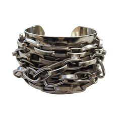 Paige Novick Knotted Chain Bracelet in Rhodium ($230) ❤ liked on Polyvore featuring jewelry, bracelets, accessories, bangles, cuff, women, bracelets bangle, hinged bracelet, hinged bangle and bangle jewelry