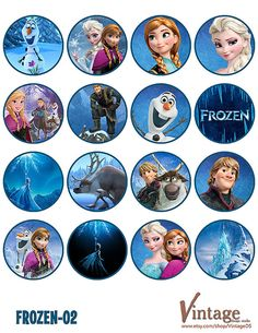Disney Frozen Birthday party Cupcake Toppers Images 2 by VintageDS Like, Comment, Repin !!!