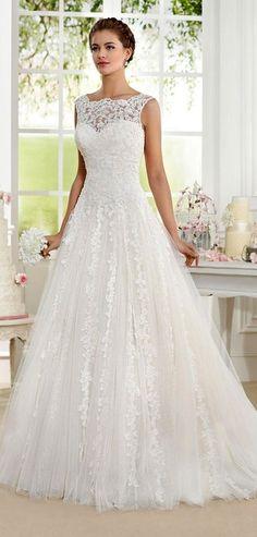 Modest Tulle & Organza Bateau Neckline A-Line Wedding Dresses With Lace Appliques #laceweddingdresses