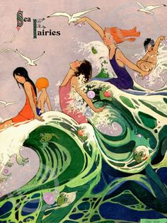 Sea Fairies postcard illustrated by Edna Cooke, originally appeared in Ladies Home Journal, 1910