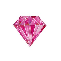 Pink Diamond    Print of my original watercolor painting.  Size: 5 x 5 or 8 x 8  Unframed  Signed on the font in pencil, as well as signed,