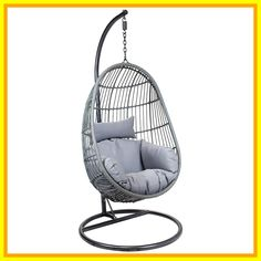 IN STOCK: best prices on Charles Bentley Hanging Egg Shaped Rattan Swing Chair With Cushion - Grey - choose between 34 Garden swing seat Rattan Egg Chair, Egg Swing Chair, Hanging Egg Chair, Hammock Chair, Swinging Chair, Chair Cushions, Hammock Stand, Wicker, Garden Swing Seat