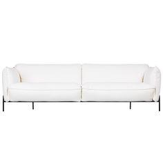 Claesson Koivisto Runen suunnitteleman Continental-sohvan juju on siro metallikehikko, joka kannattelee sohvan runkoa. Swedesen modernissa sohvassa on muhkeat istuintyynyt, mutta ohuiden jalkojen ansiosta vaikutelma on kevyt.