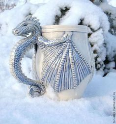 Snow Dragon porcelain mug Handmade fantastic art cup, ceramic, winged fairy white dragon statuette, beer stein winter dragon figurine Porcelain Mugs, Ceramic Cups, Ceramic Art, Dragon Statue, Dragon Art, Pottery Mugs, Ceramic Pottery, Snow Dragon, Dragon Figurines
