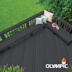 Olympic Elite: A premium wood stain and sealant. This semi-solid stain adds color while still allowing the wood grain and texture to show. This super-premium exterior wood stain is formulated to protect Exterior Wood Stain Colors, Wood Deck Stain, Fence Stain, Semi Transparent Stain, Water Based Wood Stain, Black Deck, White Deck, Black Wood, Diy Deck