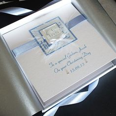 Handmade Boxed Christening Card for Boy  by PurpleMountainCards, £6.95