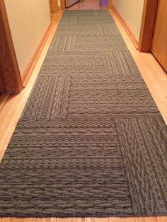 FLOR Carpet tiles -- Sweater Weather, Brown, pinned for pattern of full tile beside 1/2 tile, this cut must be done during installation