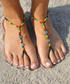 Cute for a day at the beach!  Black & Yellow Rasta Barefoot Sandal by SunSandals #zulilyfinds