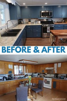 Before and after pictures of painting kitchen cabinets. A DIY project we did and saved a ton of money and had beautiful results. blue kitchen cabinets makeover beforeandafter DIY howto tips tricks 68257750589390569 Farm Kitchen Ideas, Rustic Kitchen, Cottage Kitchen Diy, Diy Kitchen Projects, Blue Kitchen Decor, Kitchen Decorations, Kitchen Hacks, Country Kitchen, New Kitchen Cabinets