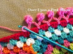 Once Upon A Pink Moon: Pom Pom Edge  How I'm  finishing my c2c afghan!!!! Yes!!!!