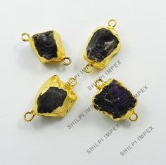 5Pc! Gorgeous Natural Amethyst Brass Wholesale Lot Fashion Jewelry Connectors #Shining_Gems #Connectors #Jewelry #gemstone