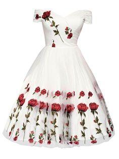 White Embroidery Petal Dress