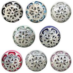 Beautifully carved, hand painted traditional ceramic knobs in silver finish with cool and bright base colors only at Indian shelf.