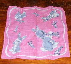 Vintage Pink Childrens Handkerchief with Bunny by cottageprims, $7.00