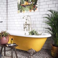 If you have a small bathroom in your home, don't be confuse to change to make it look larger. Not only small bathroom, but also the largest bathrooms have their problems and design flaws. Bad Inspiration, Bathroom Inspiration, Earthy Bathroom, Moroccan Bathroom, Bathroom Green, Eclectic Bathroom, Black And White Bathroom Floor, Moroccan Decor, Black Bathtub