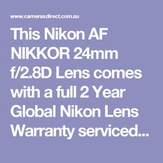 This Nikon AF NIKKOR 24mm f/2.8D Lens comes with a full 2 Year Global Nikon Lens Warranty serviced in Australia.  Pop into our Gold Coast camera store & warehouse or order online. #CamerasDirect, happily helping you take a better #photo and being at your service. Thank you.  #Nikon24mm #Nikon24mm #Nikon24mmf28D #NikonLens
