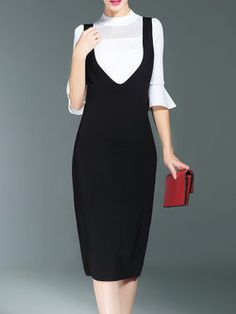 Flared Sleeve Two Piece Stand Collar Overall Midi Dress