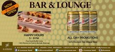 NOW OPEN! Bar & Lounge on 1st Floor.  Happy Hour Promo starts from 5-8 Pm All Day Promotion : San Miguel 50% disc  #jsluwansa #promotion #happyhour