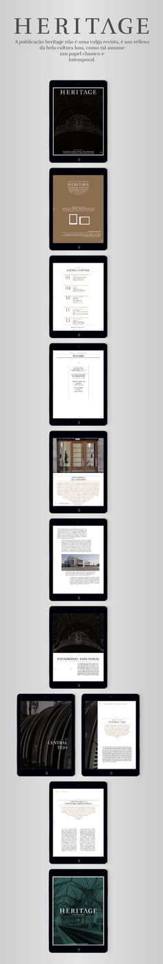 Digital version of Heritage magazine, a final project from the Editorial Design master in Instituto Politécnico de Tomar, Portugal.