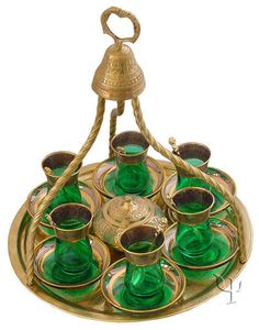 Turkish Brass Tea Set make out of a bell, charger and pretty glasses?