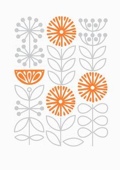Sarah Abbott, grey and orange, simple, pattern, design, autumn, contemporary, floral