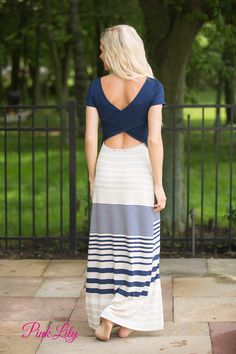 On Cloud Nine Maxi Dress Navy - The Pink Lily Boutique