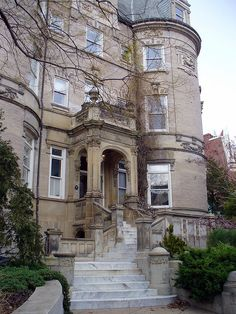 Entrance and stairs on Embassy Row (I think Miller House) in Washington DC.      #house #mansion