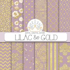 Purple digital paper: LILAC & GOLD with purple and | Etsy Paper Clip Art, Wedding Shower Favors, Bridal Shower, Watercolor On Wood, Gold Background, Purple Backgrounds, Gold Pattern, Graphic Patterns, Scrapbook Paper