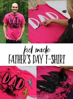 This is a super fun Homemade T-Shirt Idea for Dad - super simple way to finger paint over a fun design. Diy Father's Day Shirts, Diy Shirt, Dad To Be Shirts, Homemade T Shirts, Easy Fathers Day Craft, Freezer Paper Stenciling, Birthday Crafts, Birthday Wishes, Dad Birthday