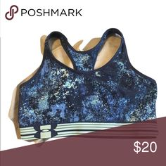 Celestial Sky Under Armour Work Out Bra, L In good condition, plenty of snap to the elastic!   Heat gear technology, no padding.  Great summer find! Under Armour Intimates & Sleepwear Bras