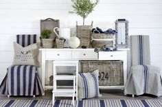 Love love love! Blue and white nautical style is absolutely stunning! Artwood Furniture  Homeware, now available at Lighthouse Nelson www.nelsonlighting.co.nz