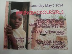 This is happening tomorrow in support of #BringBackOurGirls @YDSquare #Toronto pic.twitter.com/VqtA4jn8oQ