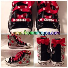 Black custom designed Converse #junkchucks with red polka dot ribbon laces and custom name. www.frommitoyou.com Converse All Star, Converse Chuck Taylor, Custom Converse, Miu Miu Ballet Flats, Custom Design, Polka Dots, Ribbon, Bling, Sneakers