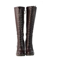 DimeCity Women's 'Darla' Lace-up Riding Boots ($66) ❤ liked on Polyvore featuring shoes, boots, botas, knee high heel boots, lace up riding boots, zip front boots, equestrian riding boots and zipper boots