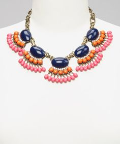 Take a look at this Dark Blue & Orange Bib Necklace by Shop the Look: Summer Soiree on @zulily today!