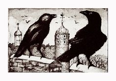 Ravens at the Tower by timsouthallart on Etsy, £145.00